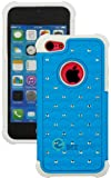 """myLife (TM) Sky Blue + White Rugged Diamond Style 3 Layer (Hybrid Flex Gel) Grip Case for New Apple iPhone 5C Touch Phone (External 2 Piece Full Body Defender Armor Rubberized Shell + Internal Gel Fit Silicone Flex Protector + Lifetime Waranty + Sealed Inside myLife Authorized Packaging Only) """"Attention: This case comes grip easy smooth silicone that slides in to your pocket easily yet won"""