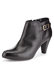 M&S Collection Leather Wide Fit Shoe Boots with Insolia®