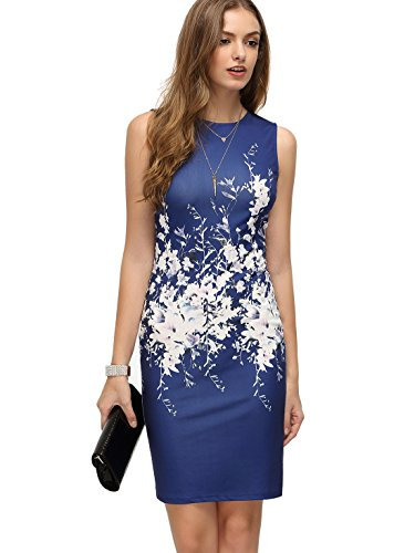 Floerns Women's Floral Print Sleeveless Split Cocktail Party Bodycon Dress Blue White M
