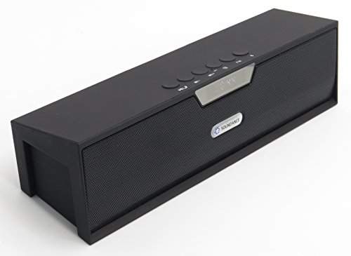 Soundance® Portable Stereo Bluetooth Speakers with Enhanced Bass Resonator, FM Radio, Built-in Mic, LED Display, Alarm clock, 3.5 mm Audio Jack, support TF card/Micro SD card and USB input, up to 35ft Bluetooth Range, up to 8 Hours Playtime, support MP3, WAV, WMA, APE, FLAC format audio file(Black)
