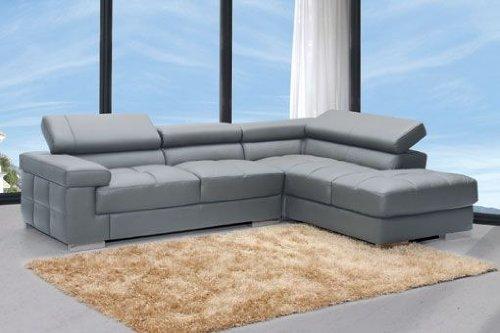 Sof chaise longue a la derecha reclinable en piel grabada - Sofa piel gris ...