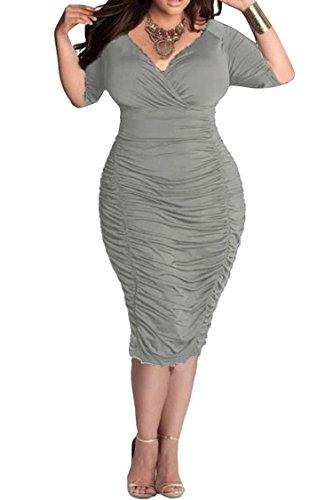 LaSuiveur Ladies Plunge Pleated Party Dresses Plus Size Bodycon Dress XXL Grey