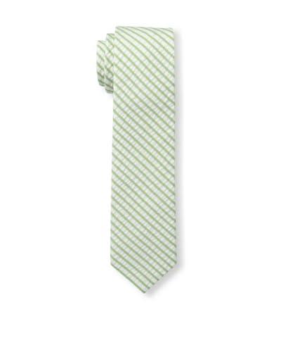 Gitman Men's Seersucker Stripe Tie, Green/White