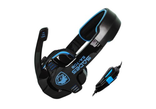 Sades Sa-708 Gaming Headset With Mic & Remoter(For Volume And Mic), Over-Ear Headset (Black+Blue)