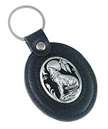 Large Deluxe Leather & Pewter Key Ring - Wolf - Deluxe Leather & Pewter Key Ring