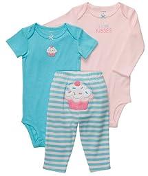 Carter\'s Baby Girls\' 3 Pc Turn Me Around Set - Turquoise/Pink Cupcake - 9 Months