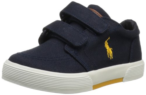 Polo Ralph Lauren Kids Faxon EZ II Sneaker (Toddler),Navy/Yellow,6 M US Toddler