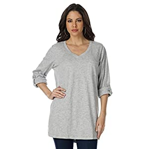 Roamans Women's Plus Size Boyfriend Slub Tunic (Heather Grey,1X)