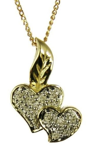 9ct Yellow Gold Ladies' 5 Points Diamond Set Double Heart and Leaf Pendant On 46cm Curb Chain