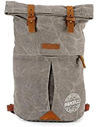 The House Of Tara Distress Finish Canvas Backpack (Stone Grey)