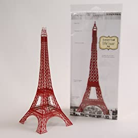 12 inch Laser Cut Paper Eiffel Tower - Red
