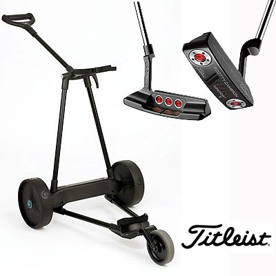 New! Emotion E3 23Lbs Pull Push Electric Motorized 3-Wheel Golf Cart Trolley + New!! Titleist Scotty Cameron Select Putter