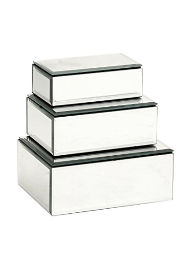 Deco 79 87256 Wood Mirror Jewelry Box Set of 3