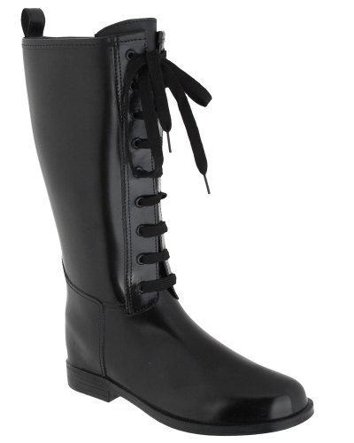 Capelli New York Solid Lace Up With Eyelets And Pull Loop Ladies Tall Equestrian Rain Boot