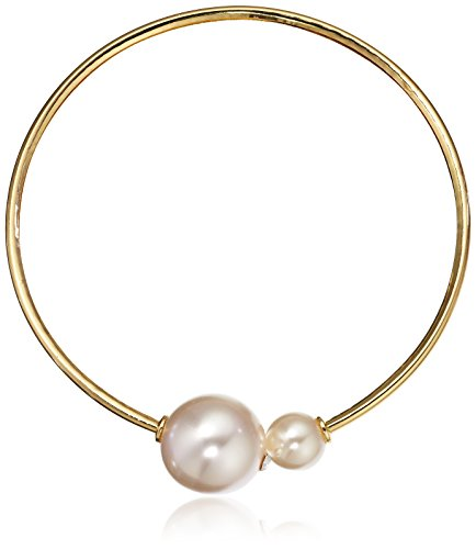 Kenneth Jay Lane Gold Open Wire With Faux Pearl Ends Necklace