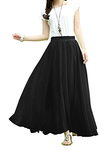 V28-Women-Fullankle-Length-Elastic-Pleated-Retro-Maxi-Chiffon-Long-Skirt