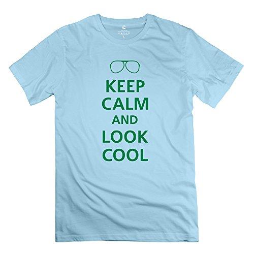 Yongth Men'S Keep Calm Look Cool 100% Cotton T-Shirt - Nerd T-Shirt
