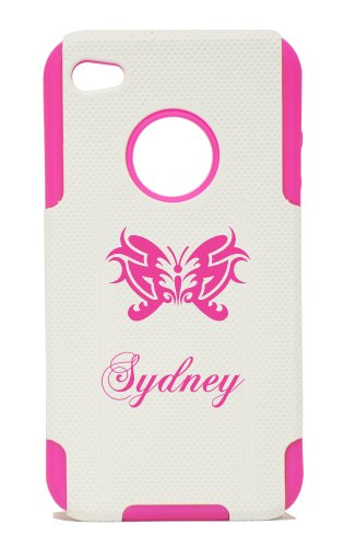 Plastic & Silicone Pink Case For Iphone 4 / 4S, Name Sydney With Butterfly Cover- Lifetime Warranty