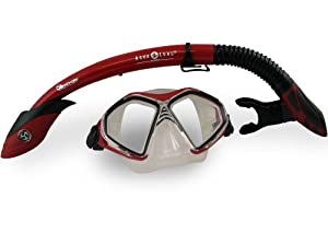 Aqua Lung Sport Admiral 2 Lx / Gulf Dry Adult Silicone Mask Combo - Red