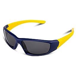 RIVBOS RBK003 Rubber Flexible Kids Polarized Sunglasses Wayfarer Style Age 3-10 (Navy Blue)