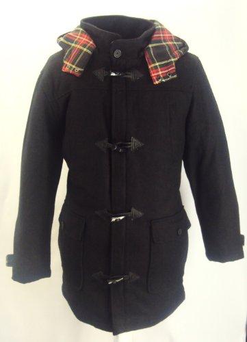Duke Mens Wool Duffel Coat with Hood (Black - M