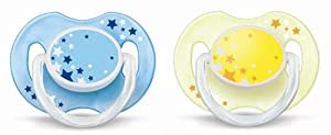Philips AVENT SCF176/18 Glow in the Dark Night-Time Soother - 0-6 Months - Colors May Vary (Pack of 2)
