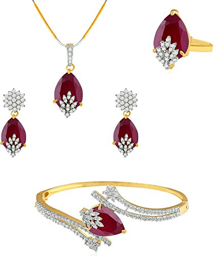 YouBella Signature Collection American Diamond Combo of Pendant Set / Necklace Set with Earrings, Bracelet and Ring for Girls and Women