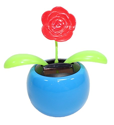 Solar Powered Happy Dancing Flower in the Pot Red Rose in a Blue Pot - 1