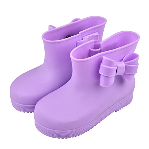 OMGard Cute Ribbon Bow Jelly Kids Girls Rain Boots Rubber Children Purple Size 8 (Cute Girl Rain Boots compare prices)