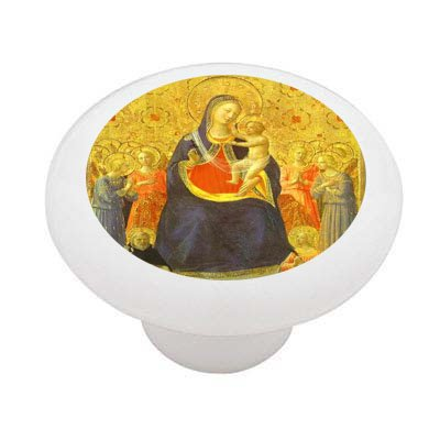 Madonna With Angels By Fra Angelico Decorative High Gloss Ceramic Drawer Knob front-936345
