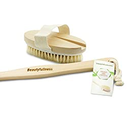 Bath Body Brush Natural Bristles Long Handle Wooden Back Scrubber Perfect for Dry Back Brushing Exfoliating Cellulite and Massaging