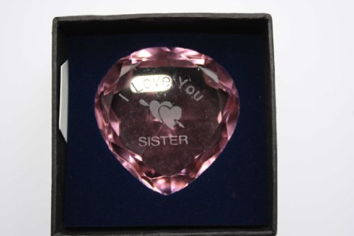 Engraved Pink Crystal Heart,
