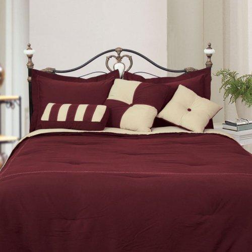 Microfiber Twin Comforter Set, Burgundy / Khaki