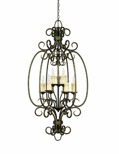 B001SL27UQ World Imports 5059-63 Sheffield Collection 9-Light Foyer Chandelier, French Bronze