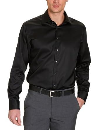 Jacques Britt Herren Businesshemd Regular Fit 20.969311 Ben, Gr. 38 (38/S), Schwarz (40 - Uni schwarz)