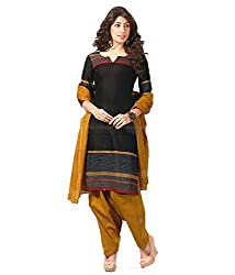 Khazanakart New Attractive Black Colour Cotton Top,Bottom and Dupatta Fabric Bollywood Style Designer Salwar Suit Dress Material For Wome.