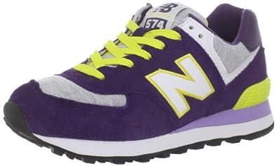 New Balance Women's WL574 Heather Neon Sneaker,Purple/Grey,5.5 B US