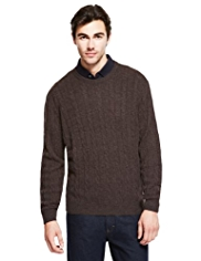 XS Blue Harbour Extrafine Pure Lambswool Twisted Cable Knit Jumper