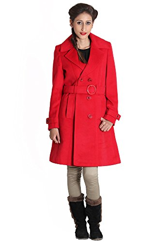 JAMES SCOT- Solid Red Colour Full Sleeve Single Breasted Women's Winter Over Coat