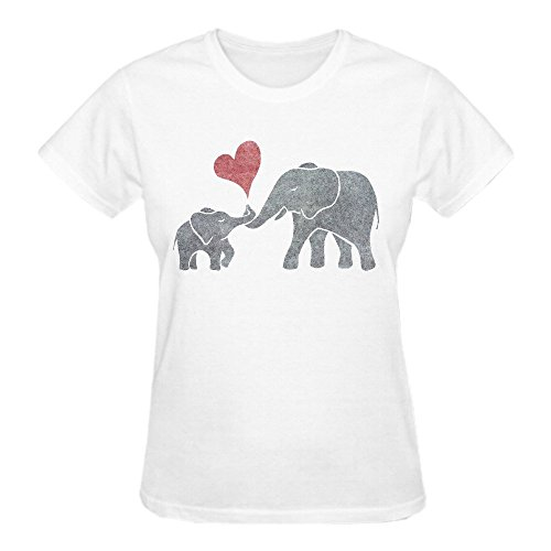 Firebo Elephant Hugs Original Fit Crew Neck T Shirts For Women White