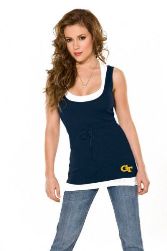 Georgia Tech Yellow Jackets Women's 2-Layered Racer Back Tank Top - by Alyssa Milano at Amazon.com