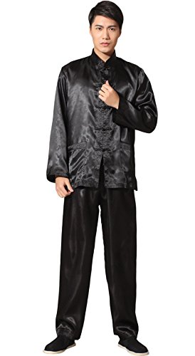 BoutiqueOrient Chinese Kung Fu Uniform Men's Black Silk Satin Outfit
