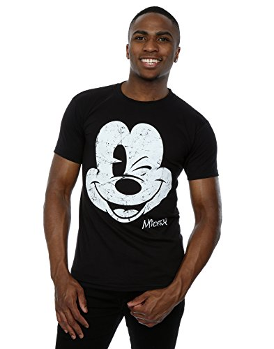 Disney Men 39 S Mickey Mouse Distressed Face T Shirt Large