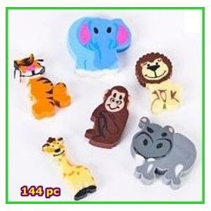 ~ 144 ~ Mini Animal Erasers ~ Zoo Safari Jungle ~ NEW