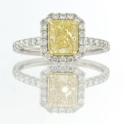 2.18ct Fancy Yellow Radiant Cut Diamond Engagement
