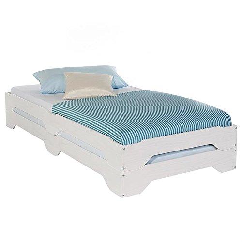 Lot de 2 lits superposables fonctionnels RONNY, 90 x 200 cm pin massif lasuré blanc