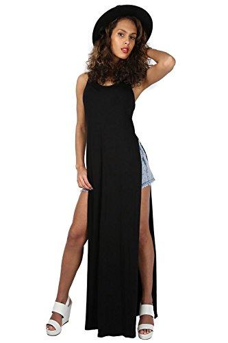Oops Outlet Women Racer Back Muscle Tee Vest Double Side Split Cutout Maxi Dress Plus Size (US 12/14) Black (Maxi Double Split compare prices)