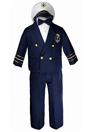 Leadertux Sailor Captain Suits for Boys Outfits from New Born to 7 Years Old (12-18 months, Navy Pants)