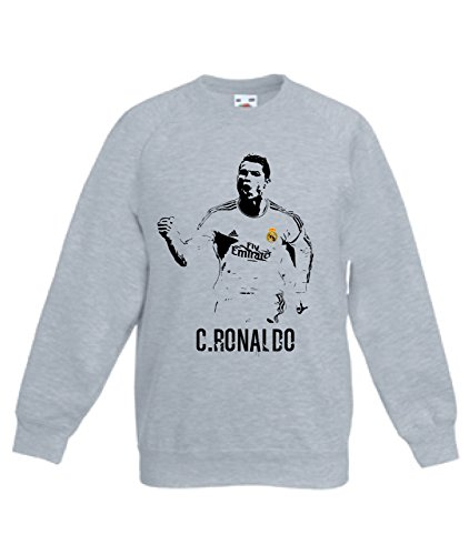 Art T-shirt, Felpa Raglan Cristiano Ronaldo Real Madrid, Bambino, Grigio, 9-11 Anni