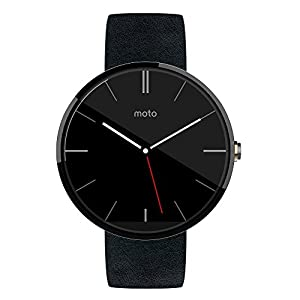 Motorola Moto 360 Smartwatch - Dark Chrome/Black Leather Strap